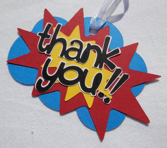 Superhero Thank You Tags for Birthday Party Favor Gift Bags Party Decorations by CutieBugShop on Etsy