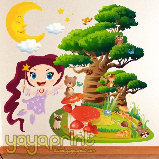 Vinilo infantil ni a hada luna nubes estrellas bosque for Vinilos infantiles nina