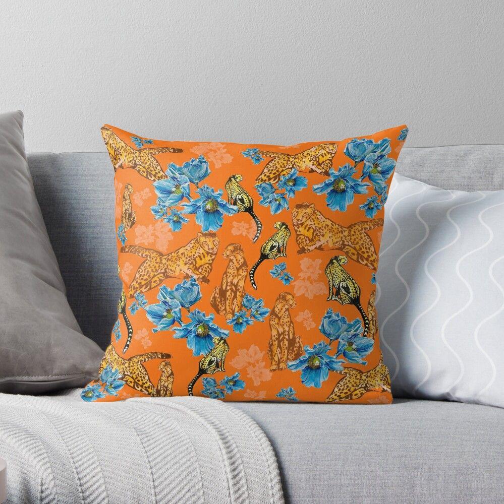 Cheetahs and Blue Poppies - orange background Throw Pillow