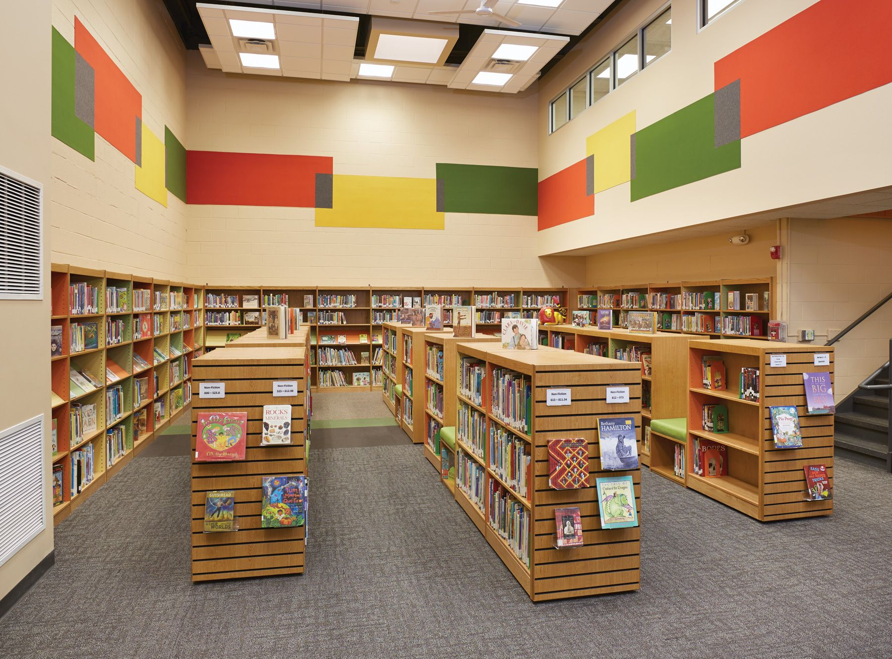 Get Library Decorating Ideas For Your School See How An Elementary Stuck In The Underwent A Dramatic Interior Design Makeover