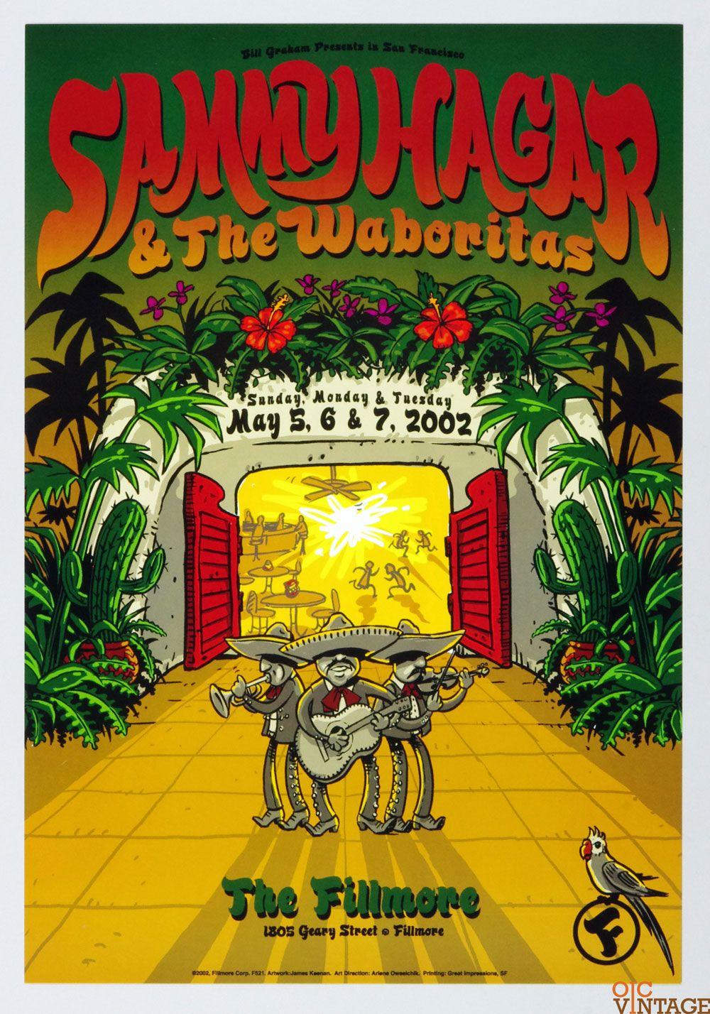Sammy Hagar Poster 2002 May 5 New Fillmore Rock N Roll Art Concert Posters Sammy Hagar