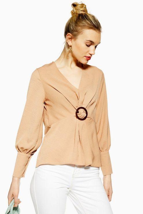 f64d510225 Womens Horn Buckle Twist Blouse - Nude Horns, Shirt Blouses, Topshop, Work  Wear
