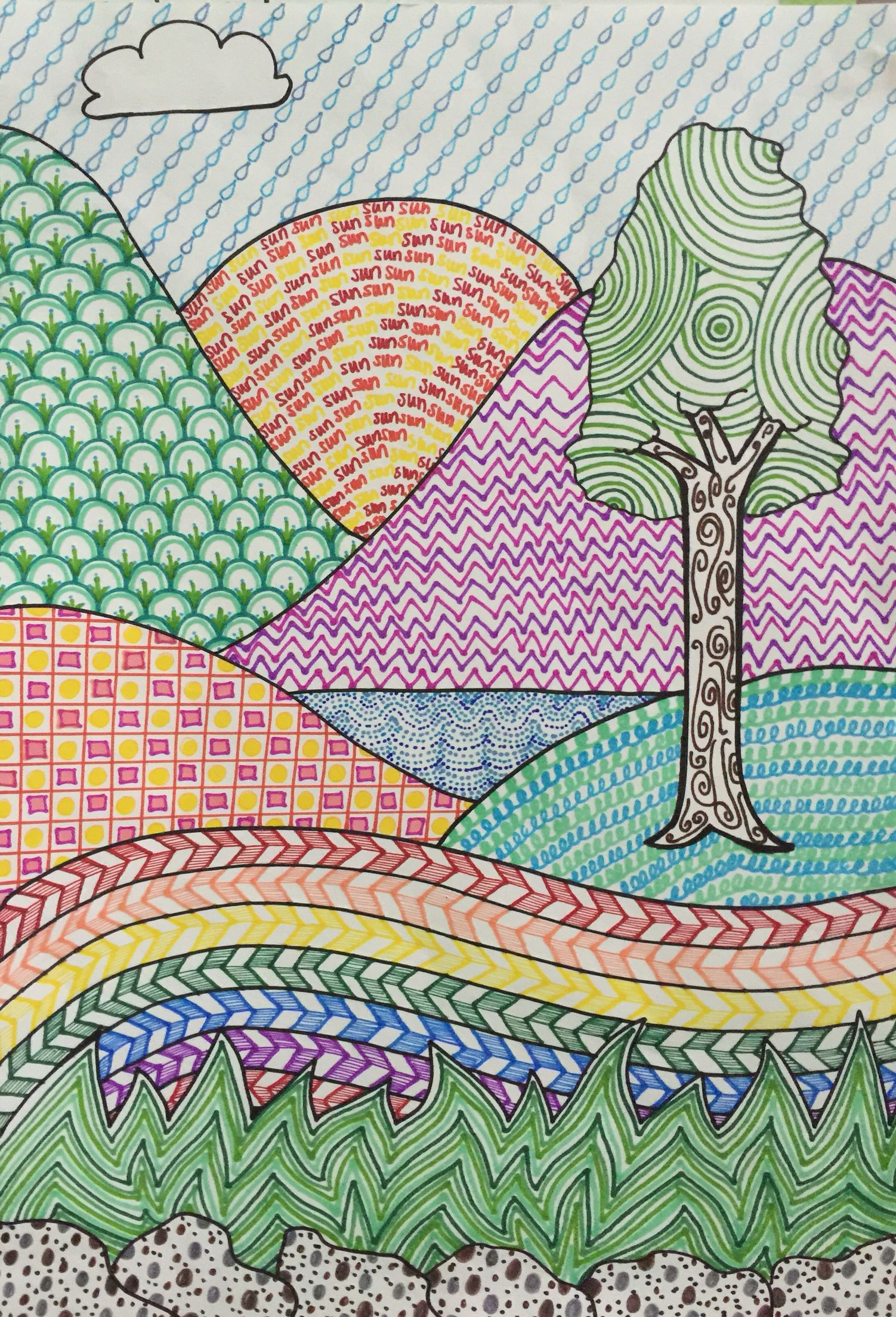 Line design landscape art by Meredith Terry  Art Created by Meredith Lee Terry personal art
