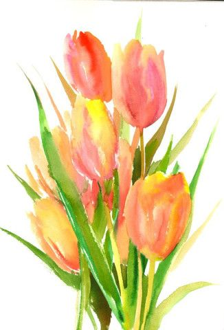 Pin By Joelyn Perkins On Art Floral Watercolor Tulip Painting