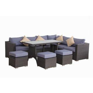 Shop for BroyerK Blue Grey Rattan 10 piece Patio Furniture Set Get