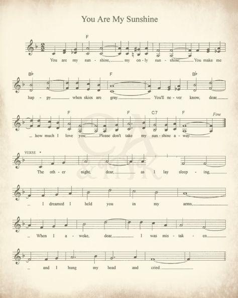 Sheet Music Art, Lullaby Sheet Music, Sheet Music Prints
