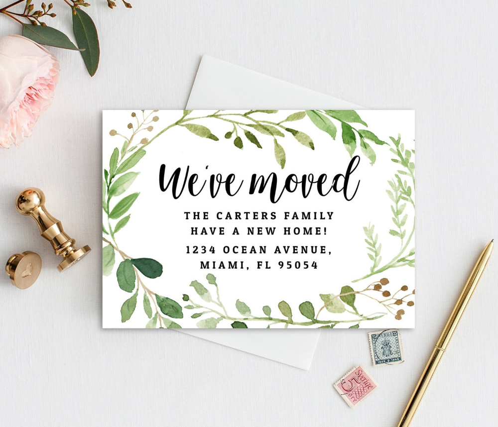 Instant Download Greenery We Ve Moved Card Template Etsy Throughout Moving Home Cards Template 10 Professional Template Card Template Moving Cards Templates