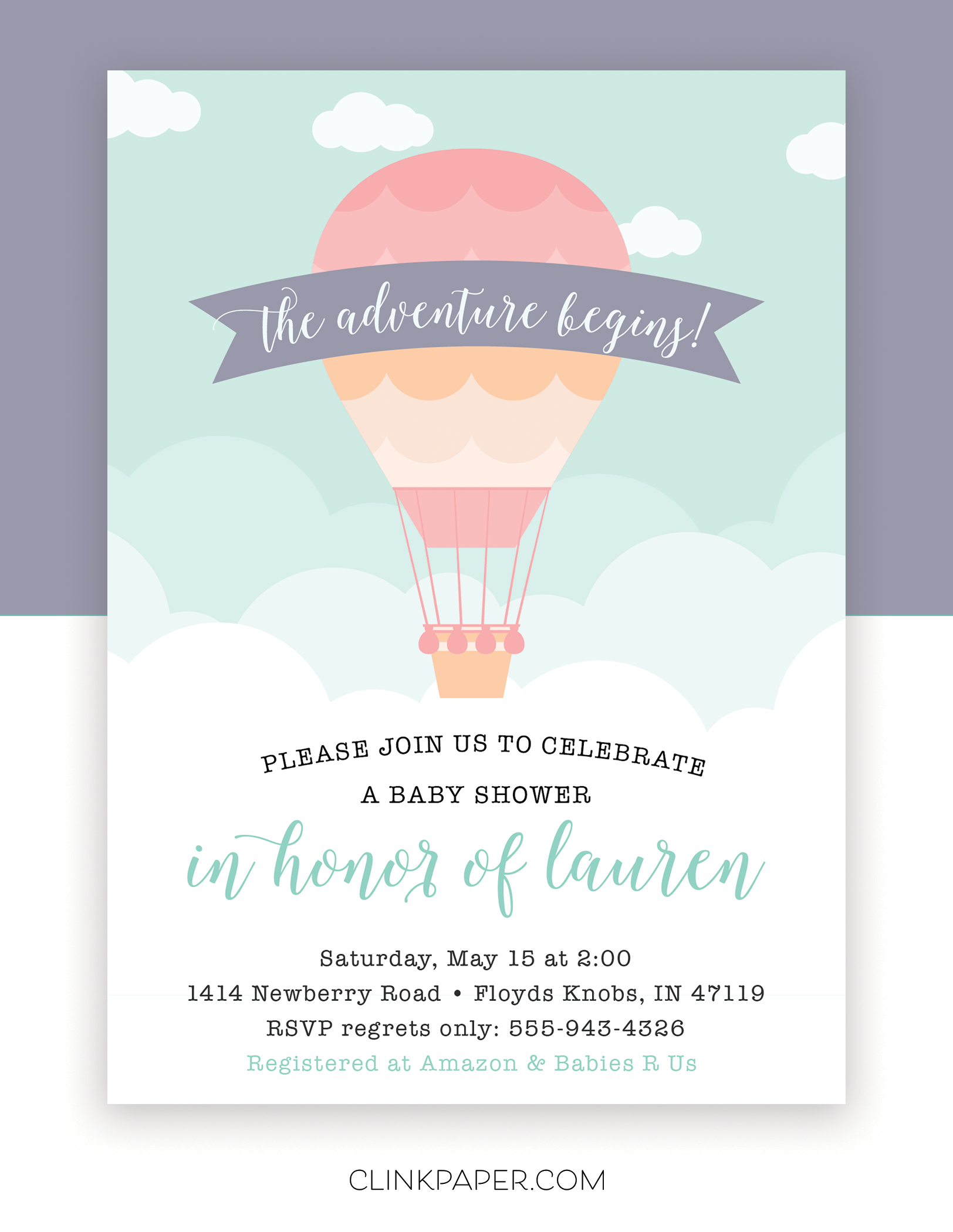Hot Air Ballon Baby Shower Invitation by Clink Paper | Travel ...