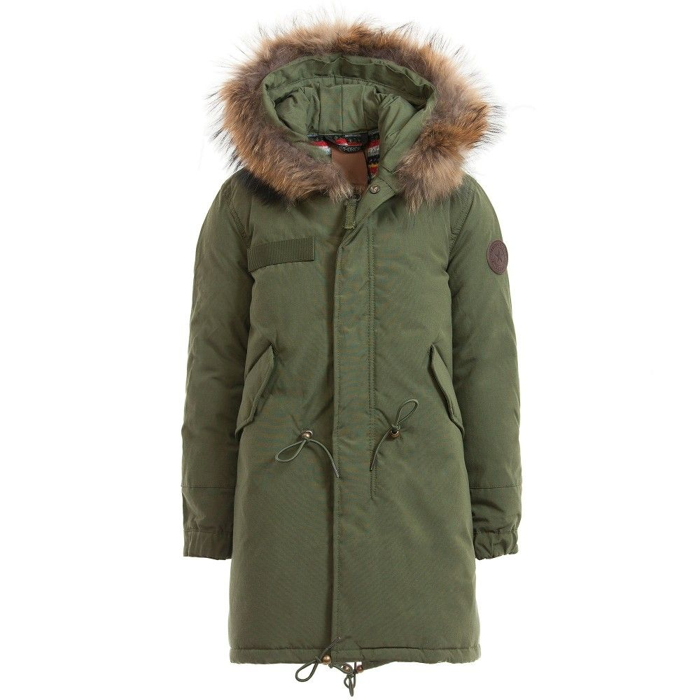 Girls Army Green Parka Coat & Real Fur Hood, Airforce, Girl ...