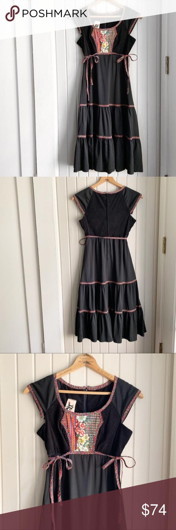 Vtg 70s Jody T Black Floral Prairie Dress K Boho Fashion Bohemian Prairie Dress Dresses [ 1740 x 580 Pixel ]