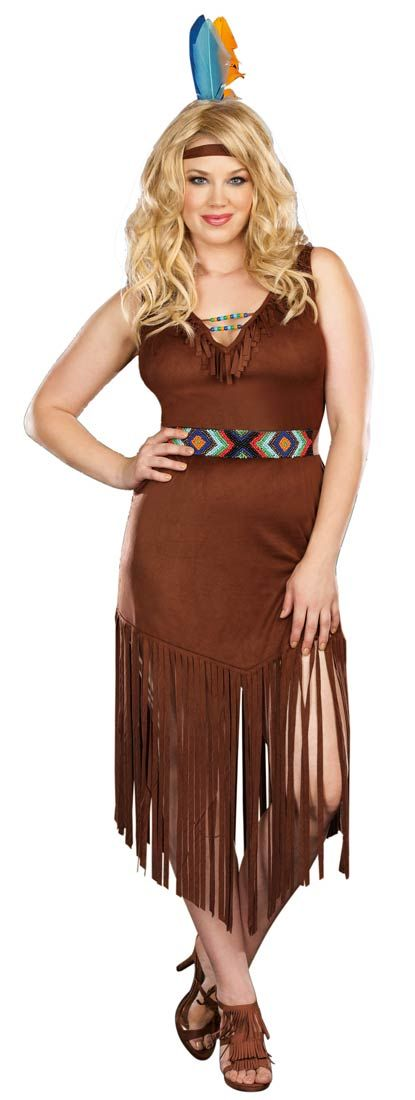 Plus Size Hot on the Trail Indian Costume - Native American Indian Costumes
