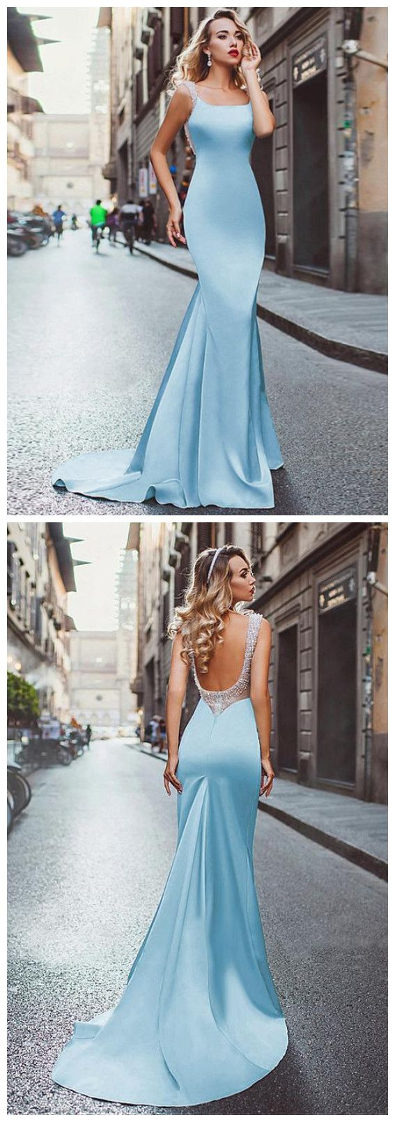 Chic mermaid prom dresses light sky blue straps modest long prom