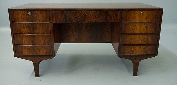 Danish Modern Rosewood Executive Desk by VintageDanishModern, $2979.00