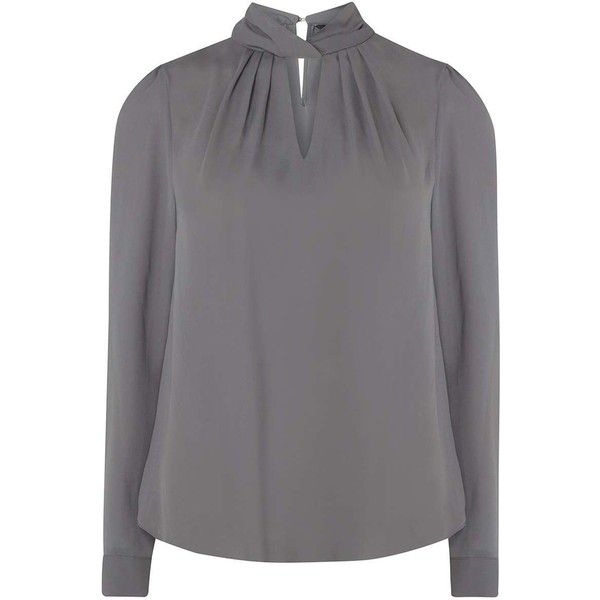 Charcoal Twist Neck Blouse 8 435 Huf Liked On Polyvore