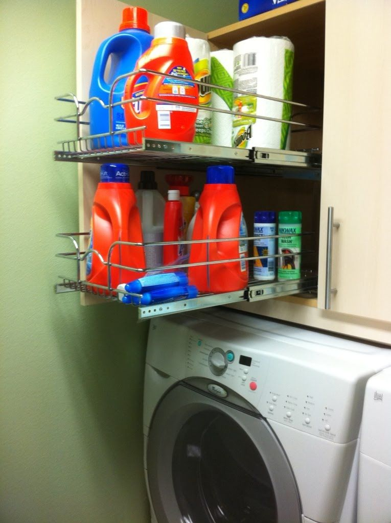 A Ikea base cabinet (with a pull out drawer system from Rev a shelf) mounted to the wall above the washer and dryer. & Usable laundry cabinet | Cleaning and Organizing | Pinterest | Base ...