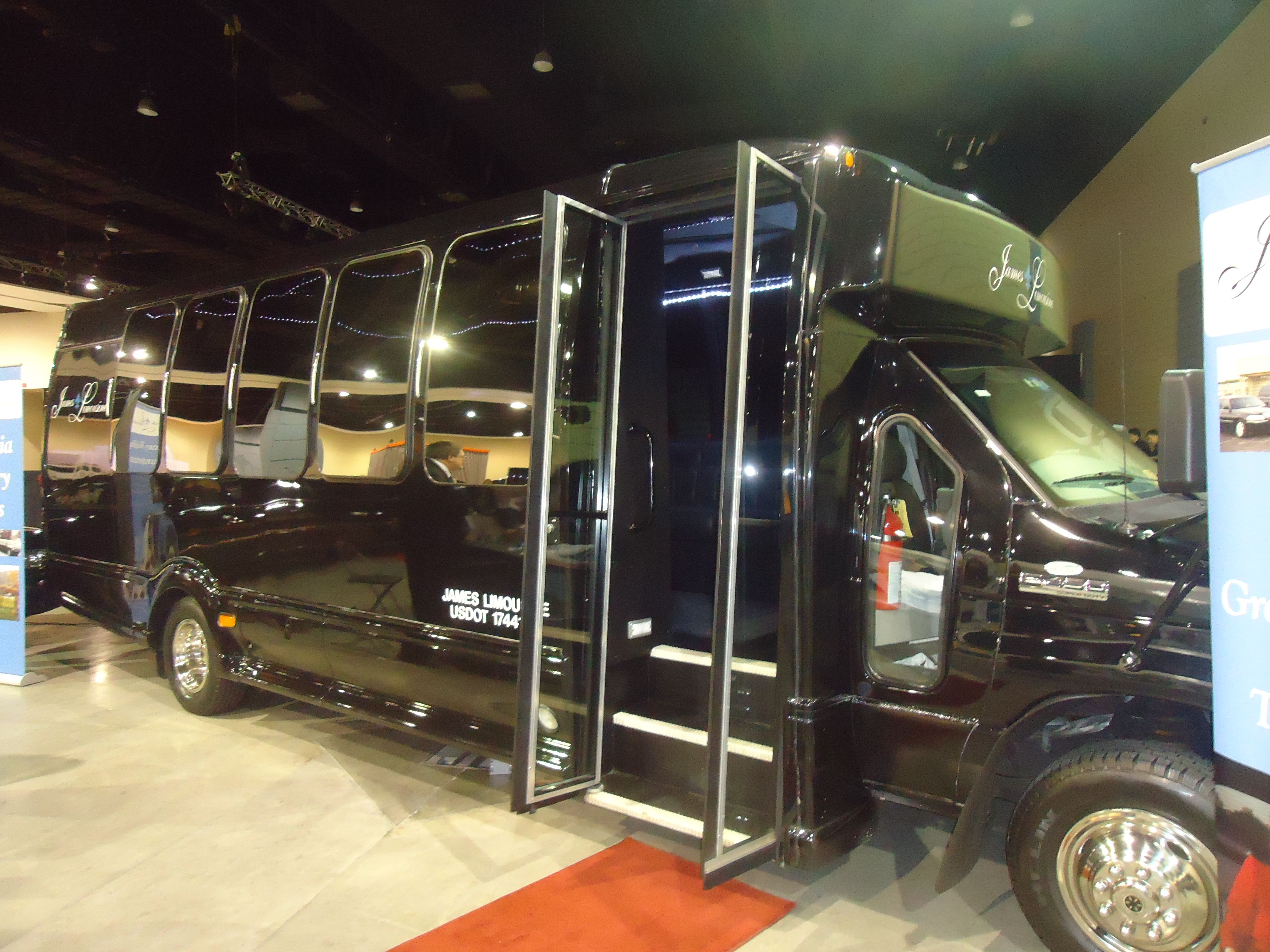 Limo bus by james limousine service at the richmond bridal