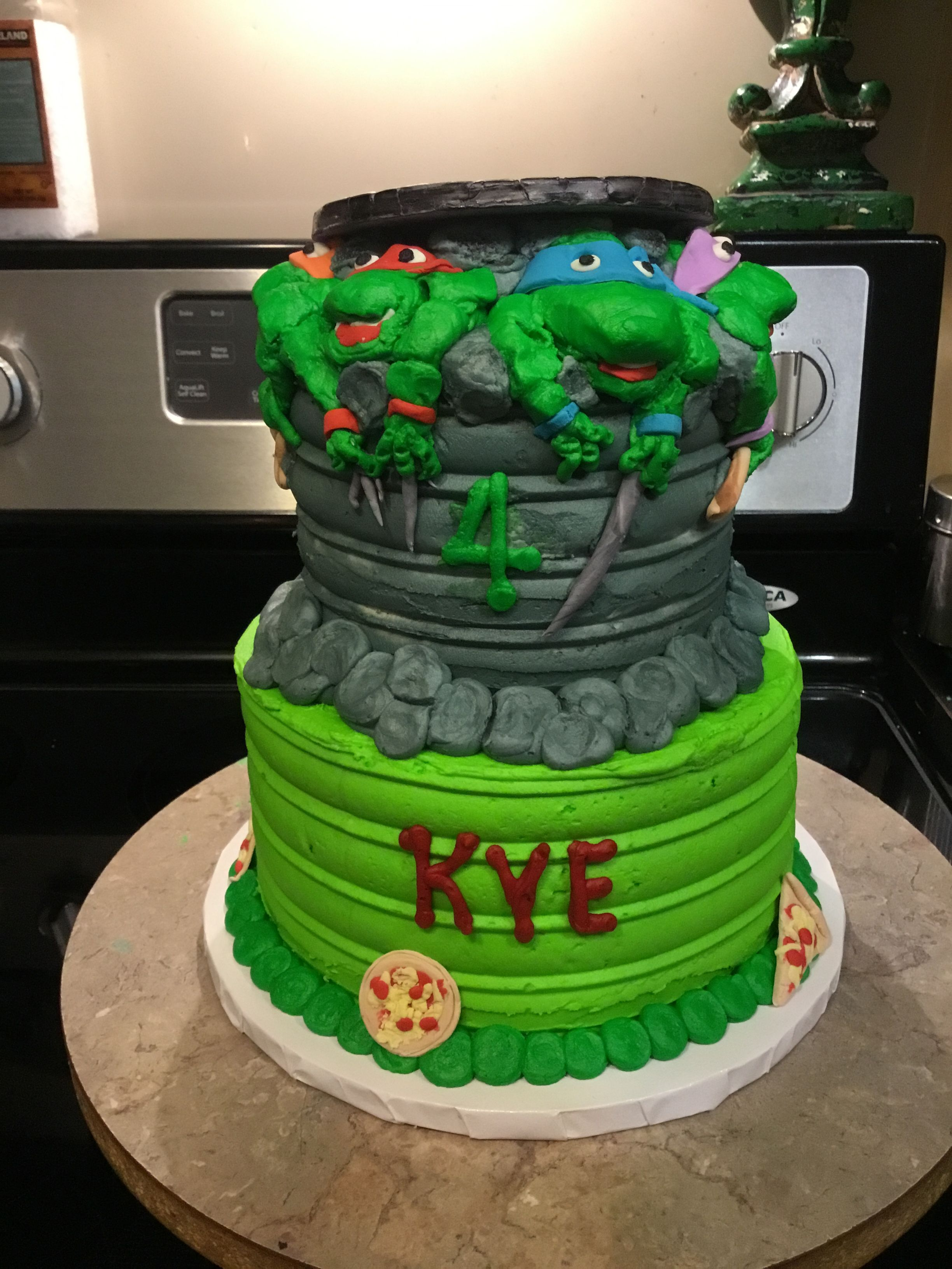 Outstanding Ninja Turtles Birthday Cake Ninja Turtles Made Out Of Buttercream Funny Birthday Cards Online Fluifree Goldxyz