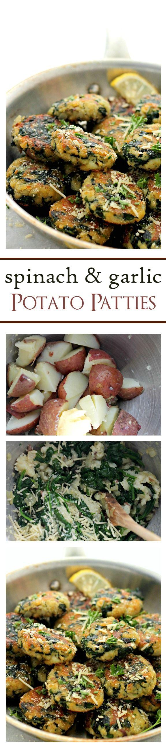 Spinach and Garlic Potato Patties   Yummy side dish recipe.