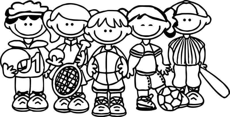 Sport Team Kids Coloring Page Sports Coloring Pages Football Coloring Pages Baseball Coloring Pages