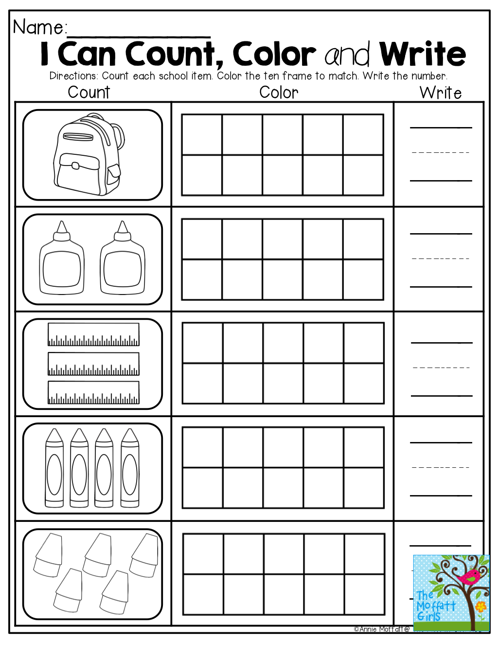 Count, color in the ten frame and write the number! TONS of Back to ...