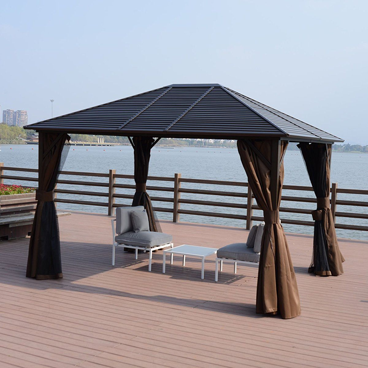 Outsunny 12 X 10 Steel Hardtop Outdoor Gazebo With Curtains Brown Black Hardtop Gazebo Patio Entertaining Gazebo