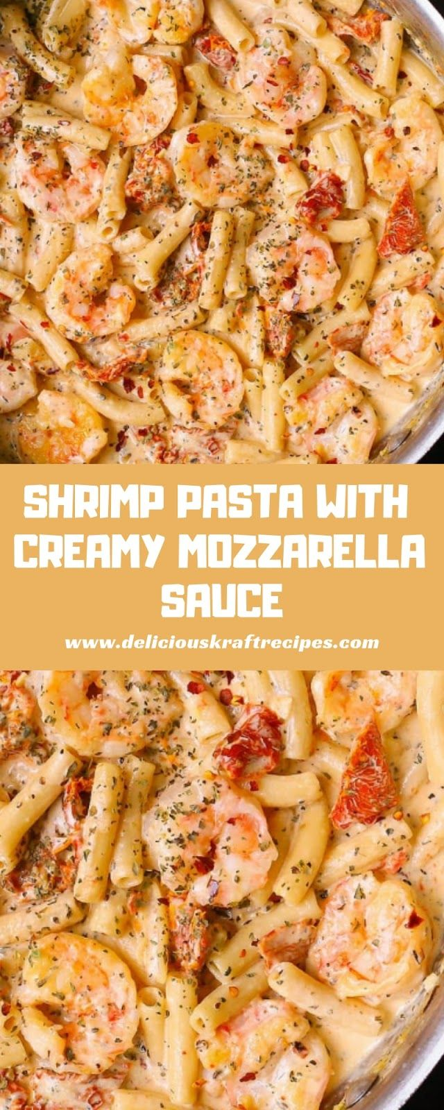 SHRIMP PASTA WITH CREAMY MOZZARELLA SAUCE #shrimppasta