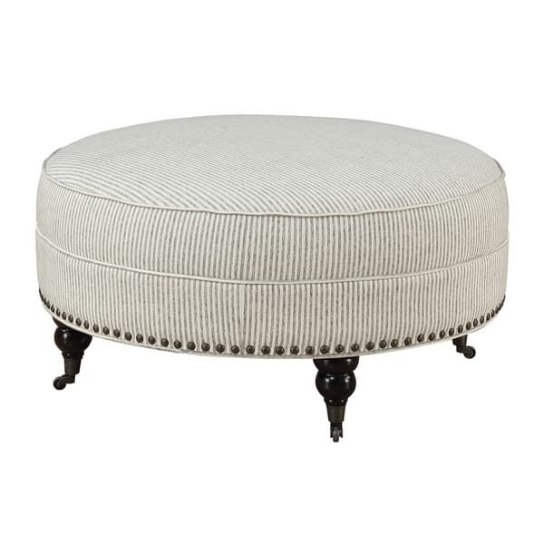 Emerald Home Willow Creek Pebble Gray Stripe Round Ottoman