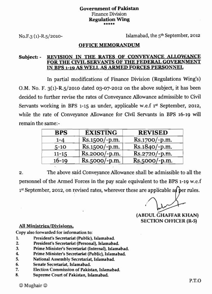 EDUCATION revision of pay scale official letter by federal - official letter