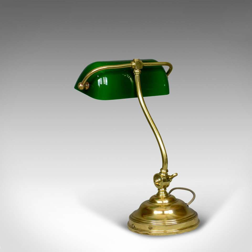 Antique Barristers Desk Lamp, Heavy, English, Brass, Glass Edwardian, circa 1910 #edwardianperiod