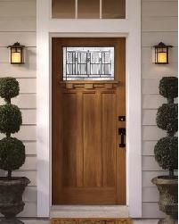 Single Craftsman Front Door With White Transom And Black