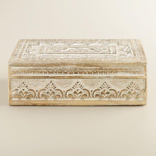 Whitewash Carved Brooklyn Jewelry Box
