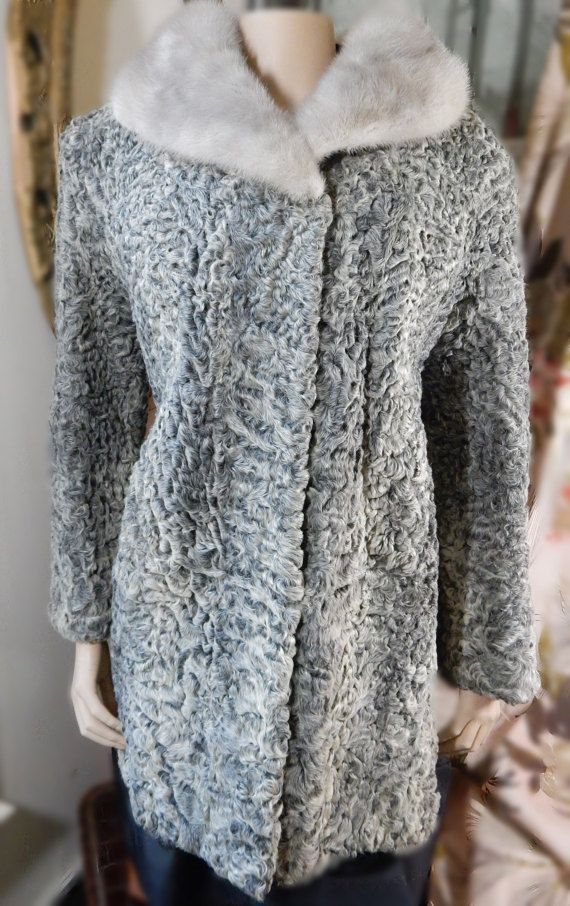 5d4fea3f15850 Gray Curly Lamb Coat- Platinum Persian Lamb- Silver Mink Collar ...