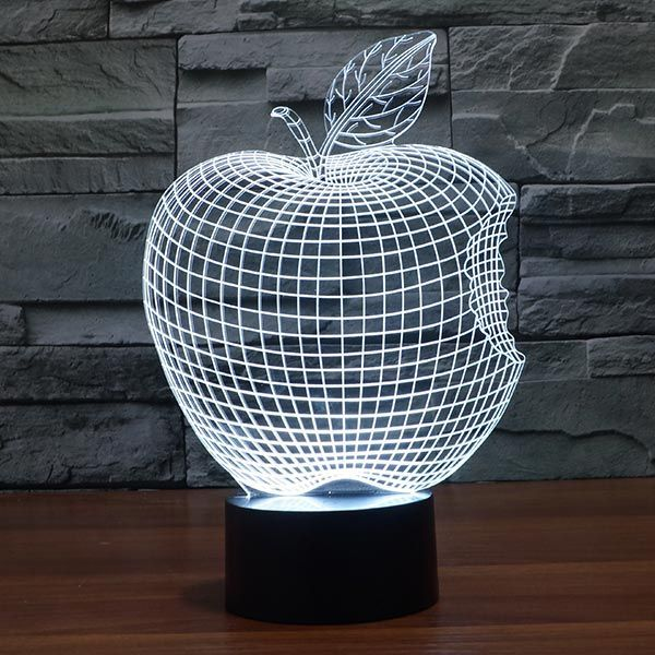 Bitten Apple Colorful 3d Led Lamp Trofeos En Acrilico Arte En Vidrio Grabado En Vidrio