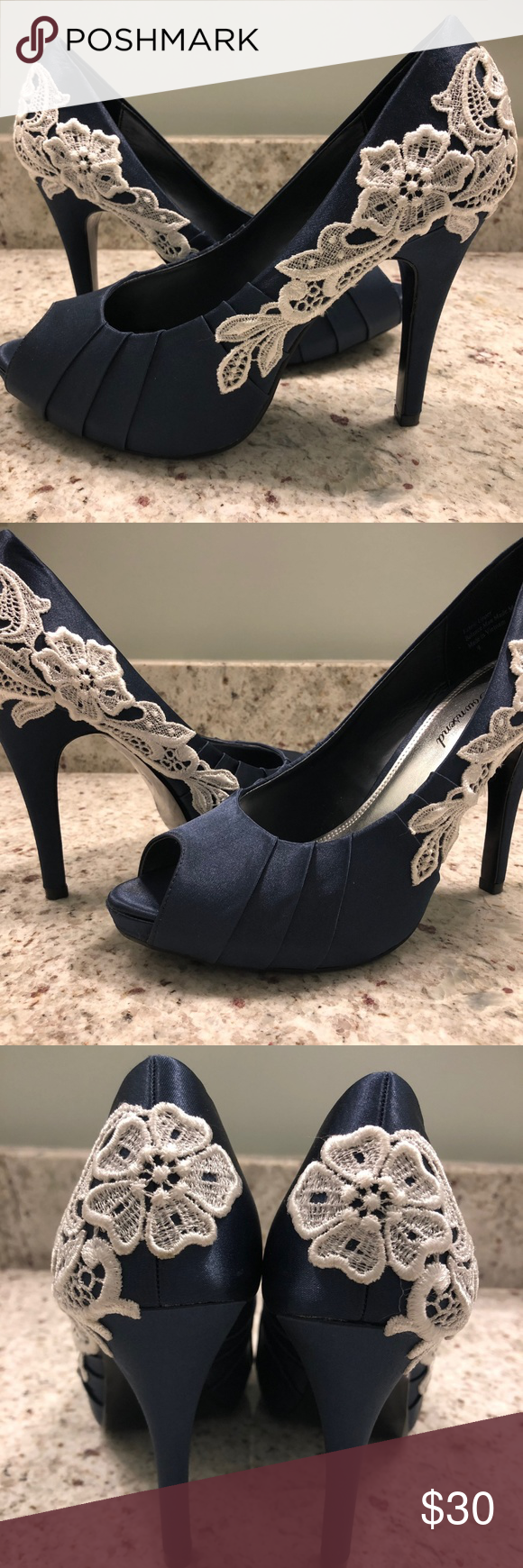 Lulu lace navy blue shoes bridal shoe heel size these were my