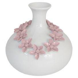 White porcelain and ceramic vase with pink floral details.
