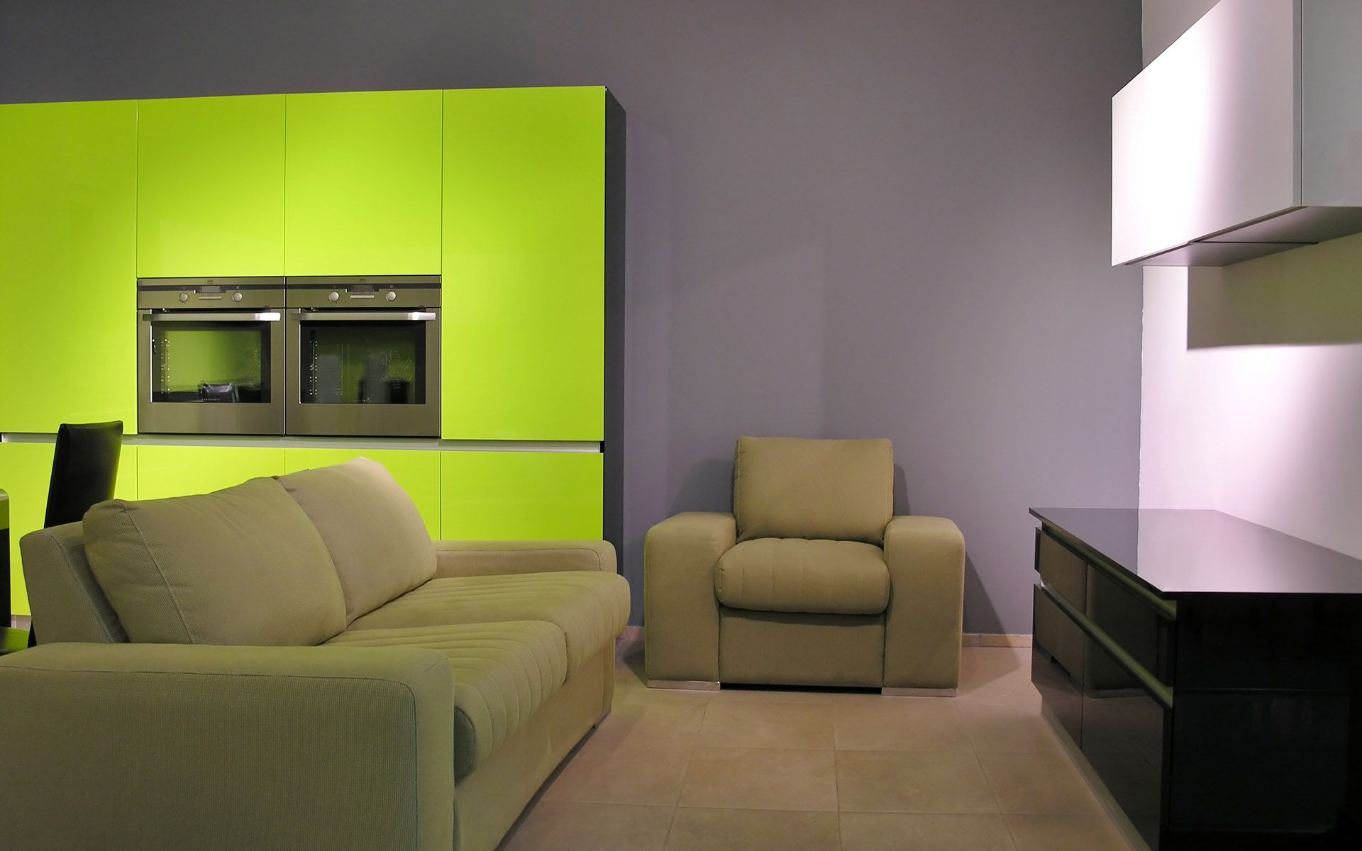 Lime Green Door And Purple Grey Interior Wall Outward With Lilac Walls