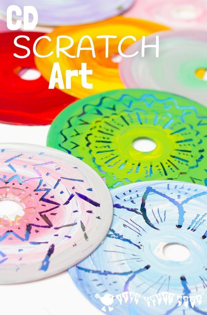 Colourful cd scratch art kids recycled art scratch art for Health craft cookware reviews