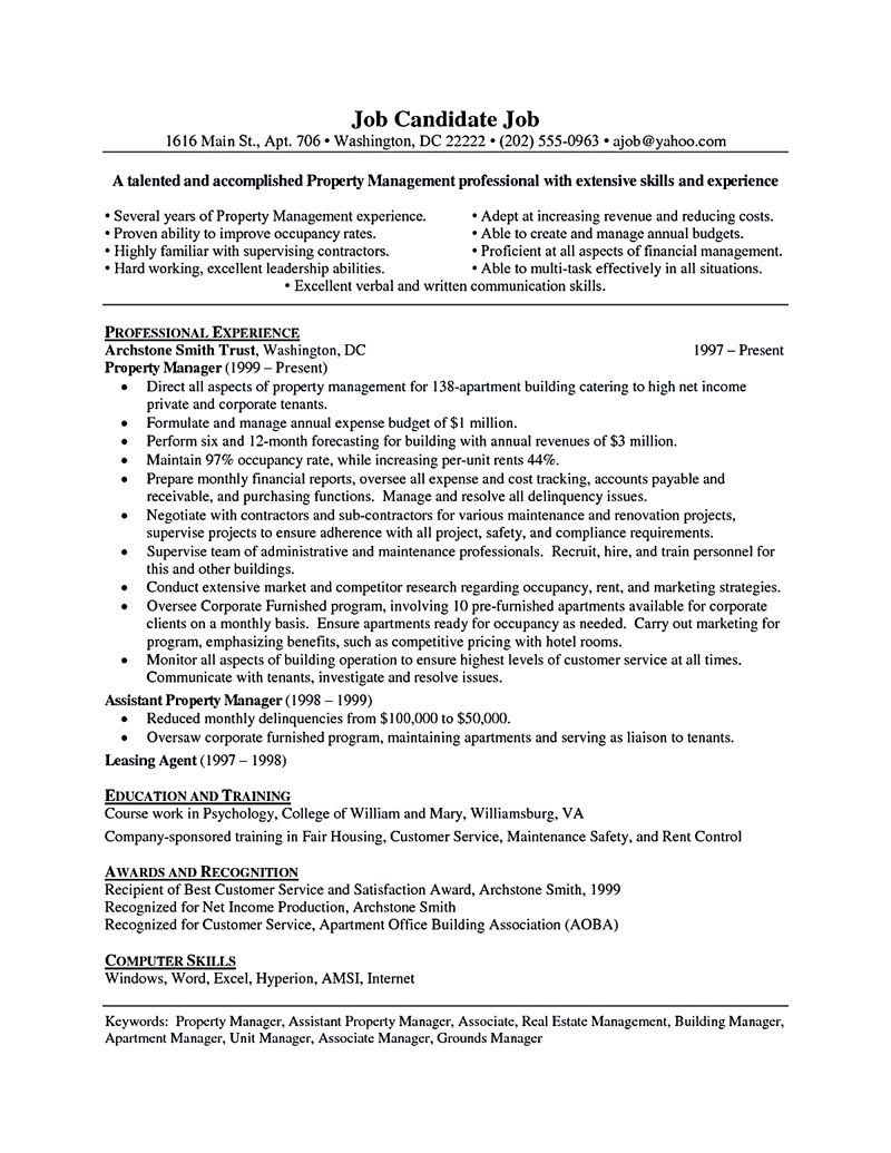 property manager resume should be rightly written to describe your skills as a property manager - Apartment Manager Resume