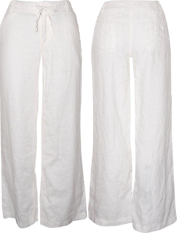 8108343e3b White Relaxed Linen/Organic Cotton/Bamboo Pants- Kundalini yoga | My ...