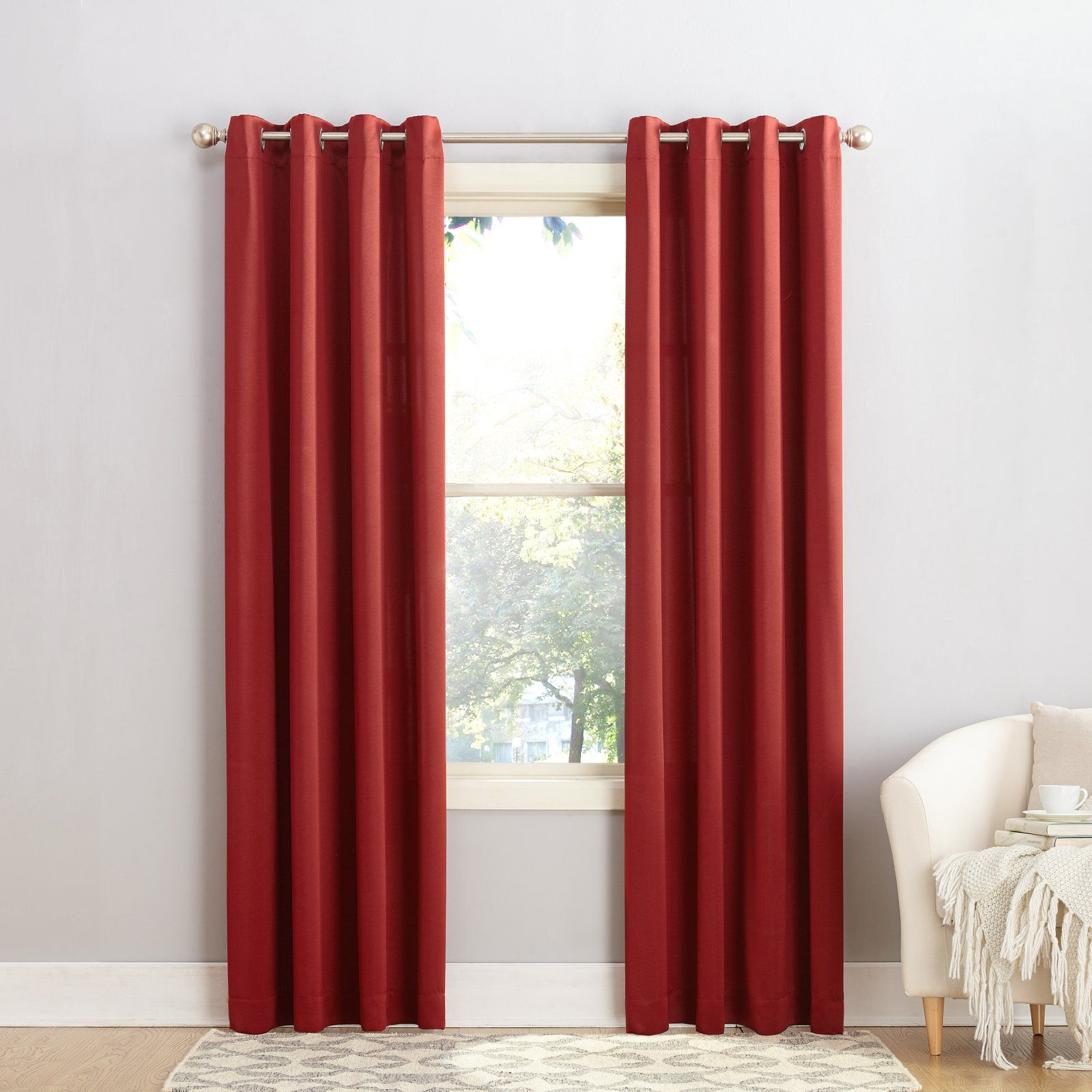 Sun Zero Giada Grommet Room Darkening Grommet Curtain Panel Room