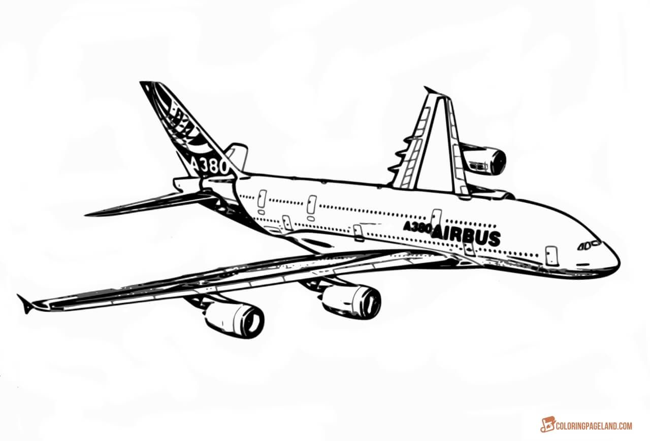 Airplane coloring pages free printable bw pictures airplanes a380 realistic coloring picture sciox Choice Image