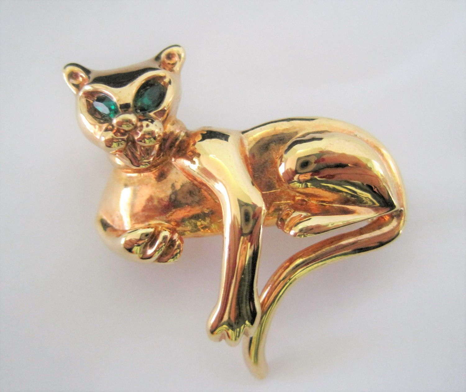 Kitty Cat Brooch - Gold Tone Metal - Green Rhinestone Eyes - Perfect Lapel Pin  VintagObsessions off