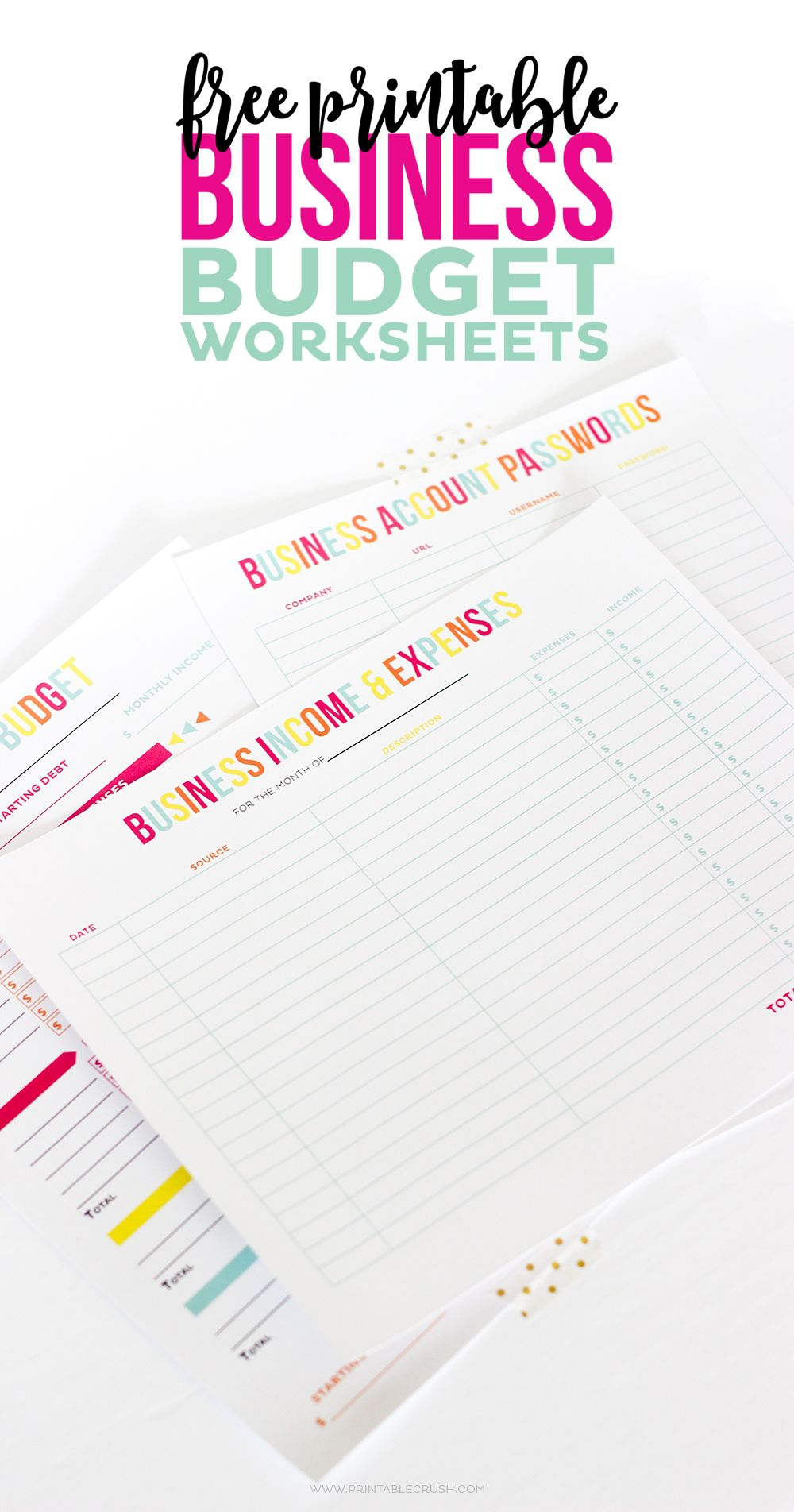 FREE Printable Business Budget Worksheets Budgeting