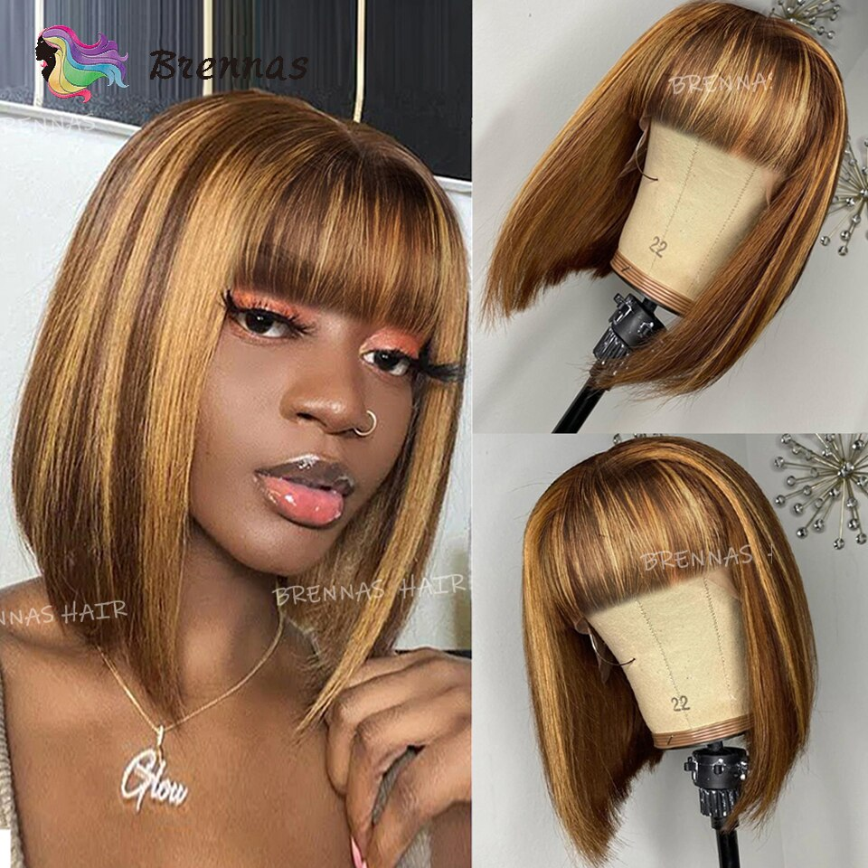 Highlight Straight Bob Wig Ombre Honey Blond Color Human Hair Wig With Bangs For Women Peruvian Remy Hair Full Machin Wigs With Bangs Blonde Bob Wig Human Wigs