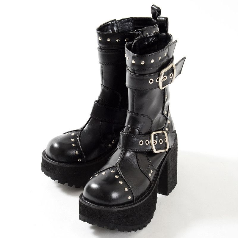 59ffe49ac YOSUKE U.S.A is a go to name when it comes to punk/gothic style footwear  from Japan and these chunky calf boots are a great example of their cool  designs!