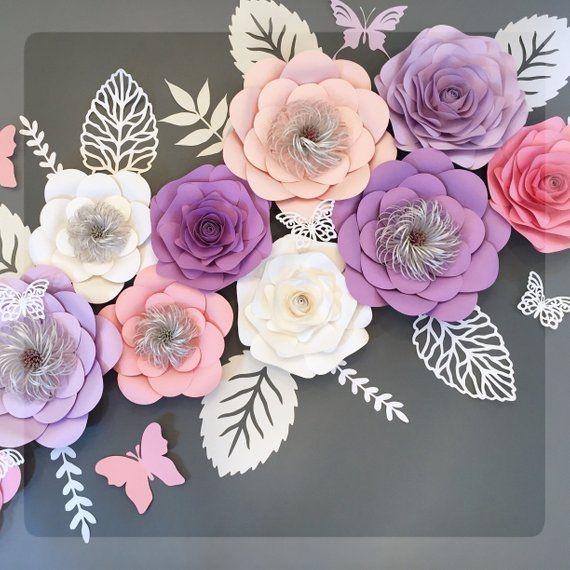 Large Paper Flower Backdrop Set Of 11 Pink Paper Flowers