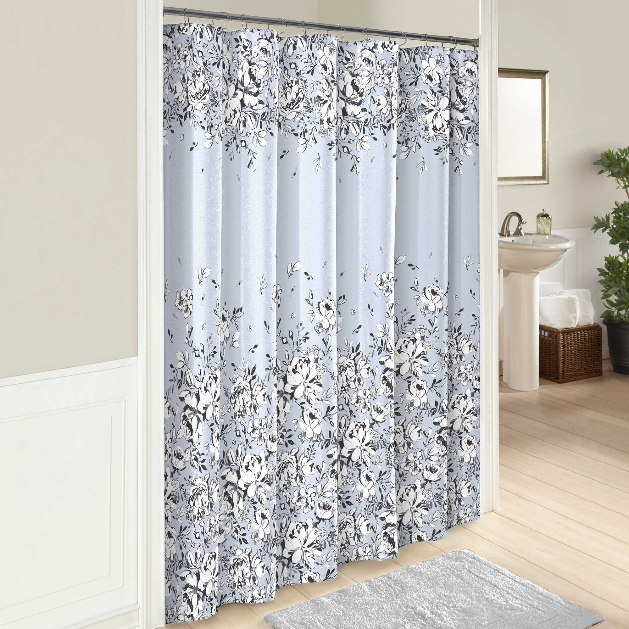 Marble Hill Danica Shower Curtain in Blue Traditional