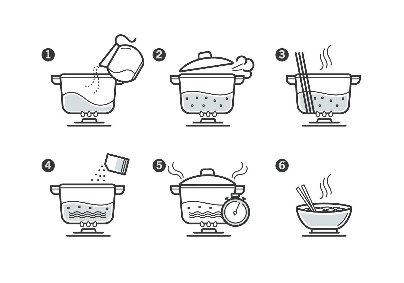 Cooking Instruction Icon Set