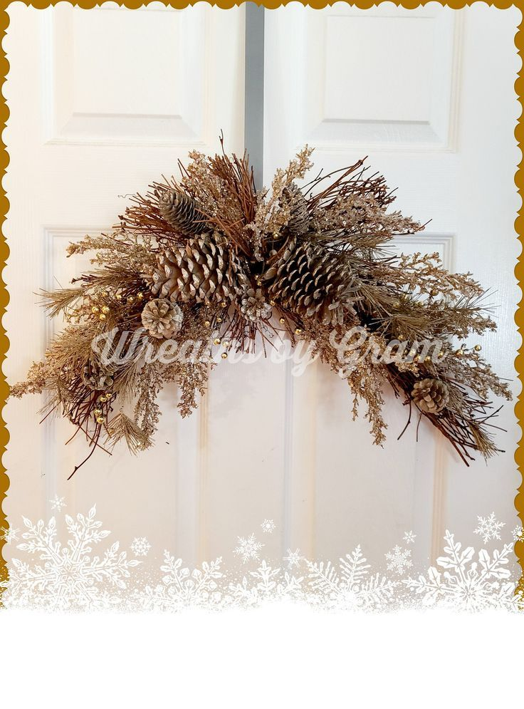 Winter Arch Garland Christmas Swag For Over Bed Mantel Decor Country Winter Decor Arch Swag Wedding Stand Decor Elegant Rustic Swag Pinecone Christmas Swags Christmas Wreaths Centerpiece Decorations