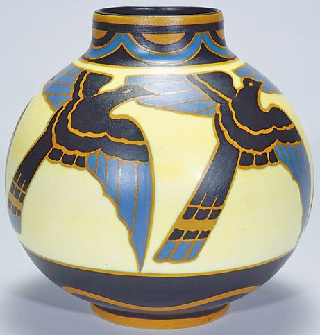 Boch Freres Art Pottery, Matte Enamel Keramis Catteau (Charles) & Leon Delfant Vase, with a repeating design of flying birds, circa 1906-1948